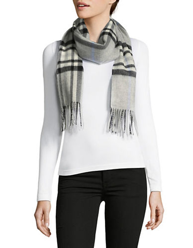 Lord & Taylor Plaid Fringed Cashmere Scarf-GREY-One Size
