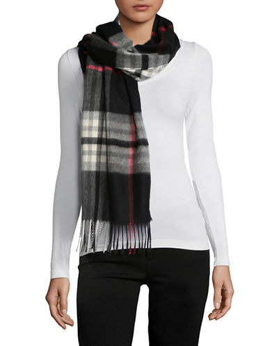 Lord & Taylor Plaid Fringed Cashmere Scarf-BLACK MULTI-One Size