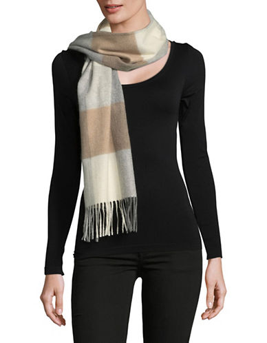 Lord & Taylor Cashmere Colourblock Scarf-NEUTRAL-One Size