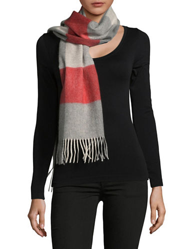 Lord & Taylor Cashmere Colourblock Scarf-RED-One Size