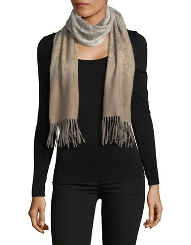 Lord & Taylor Ombre Paisley Cashmere Scarf-NEUTRAL-One Size