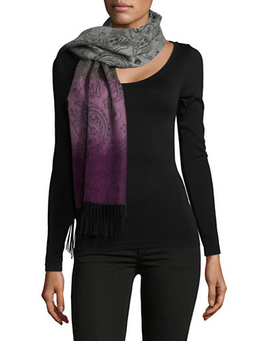 Lord & Taylor Ombre Paisley Cashmere Scarf-BERRY-One Size