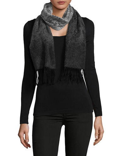 Lord & Taylor Ombre Paisley Cashmere Scarf-BLACK-One Size