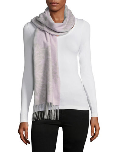 Lord & Taylor Cashmere Floral Scarf-GREY/PINK-One Size