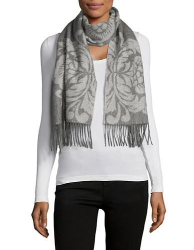 Lord & Taylor Cashmere Floral Scarf-GREY-One Size