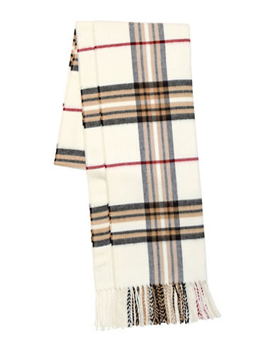 Lord & Taylor Fraas Plaid Scarf-IVORY-One Size