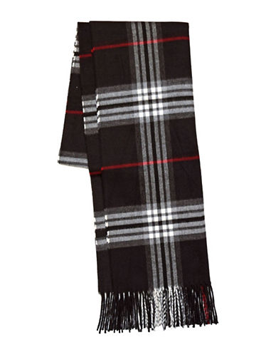 Lord & Taylor Fraas Plaid Scarf-BLACK-One Size