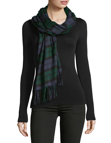 Lord & Taylor Tartan Wrap Scarf-BLACK-One Size