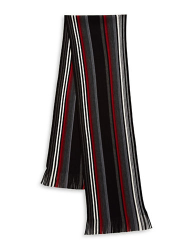 London Fog Striped Scarf-RED-One Size