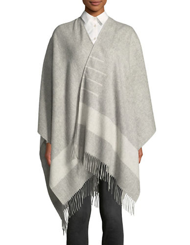 HudsonS Bay Company Striped Fringe Poncho-GREY-One Size
