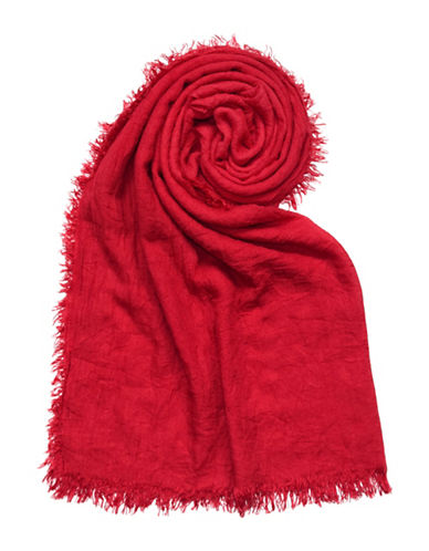 Lord & Taylor Distressed Solid Scarf-RED-One Size