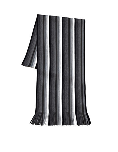 London Fog Mini Stripe Scarf-BLACK-One Size