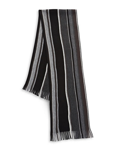 London Fog Frayed Scarf-BLACK-One Size