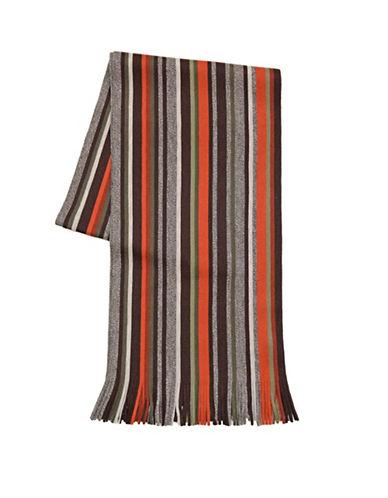 London Fog Tweedy Stripe Scarf-RED-One Size
