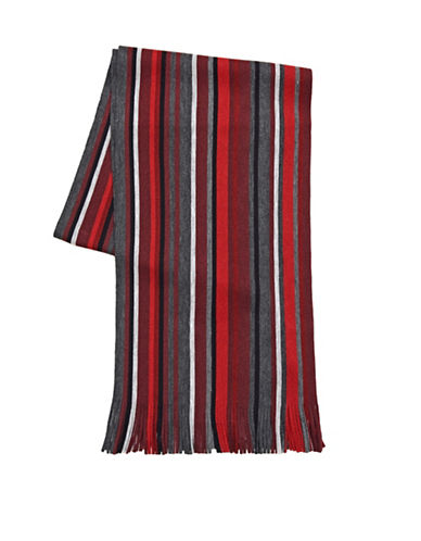 London Fog Tweedy Stripe Scarf-RED-One Size