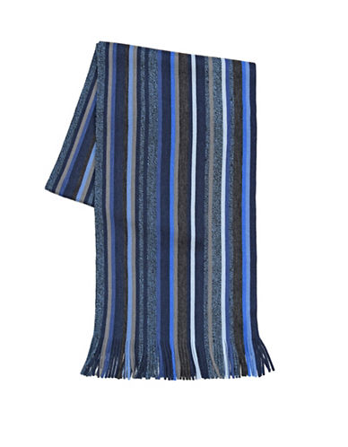 London Fog Tweedy Stripe Scarf-NAVY-One Size
