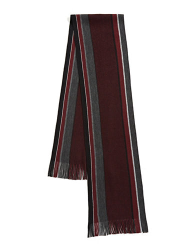 Black Brown 1826 Striped Scarf-BURGUNDY-One Size