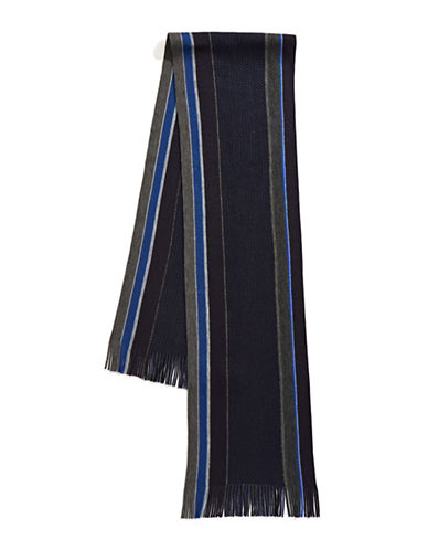 Black Brown 1826 Striped Scarf-NAVY-One Size