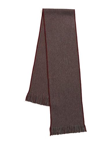 Black Brown 1826 Herringbone Scarf-BURGUNDY-One Size