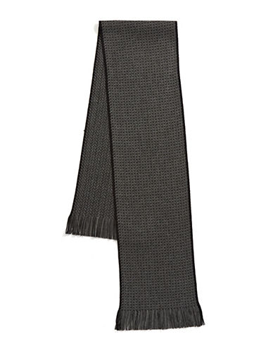 Black Brown 1826 Herringbone Scarf-GREY-One Size