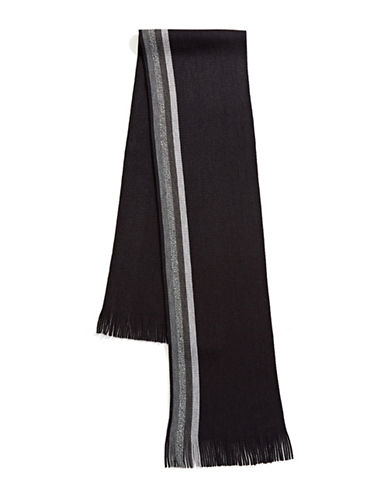 Black Brown 1826 Raw-Trim Raschel Scarf-BLACK-One Size