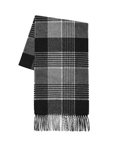 Black Brown 1826 Wool Plaid Scarf-BLACK-One Size