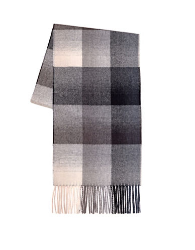 Black Brown 1826 Wool Check Scarf-BEIGE-One Size