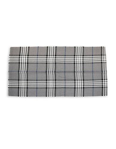 Black Brown 1826 Plaid Wool-Blend Shawl-GREY-One Size