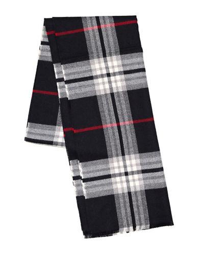Black Brown 1826 Plaid Wool-Blend Shawl-BLACK-One Size