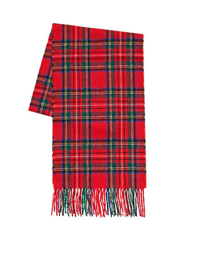 Black Brown 1826 Wool-Cashmere Plaid Scarf-RED-One Size