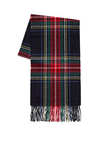Black Brown 1826 Wool-Cashmere Tartan Scarf-BLACK-One Size
