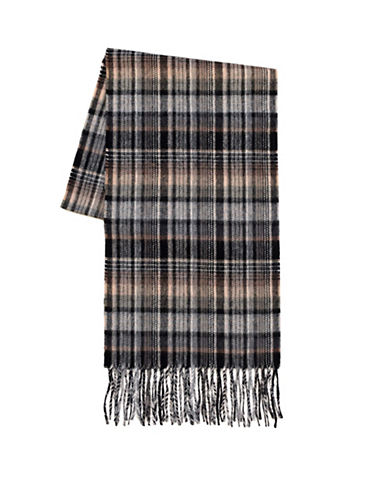 Black Brown 1826 Wool-Cashmere Country Plaid Scarf-BEIGE-One Size