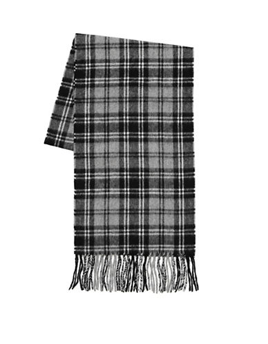 Black Brown 1826 Wool-Cashmere Country Plaid Scarf-BLACK-One Size