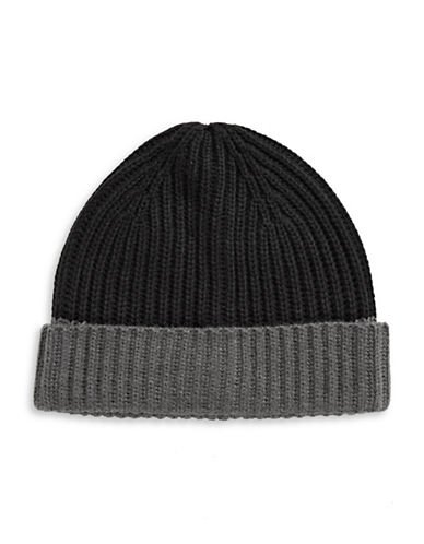 Black Brown 1826 Colourblock Cuff Tuque-BLACK-One Size