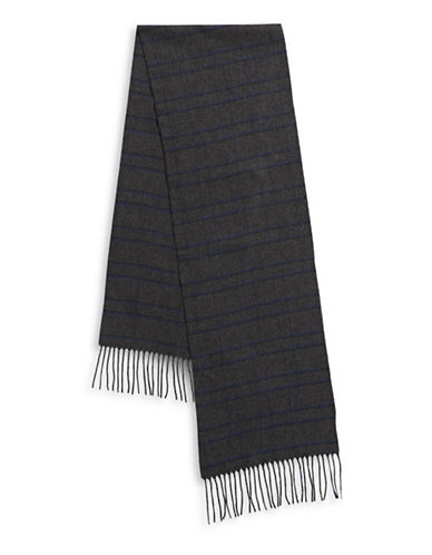 London Fog Frilled Crisscross Scarf-NAVY-One Size