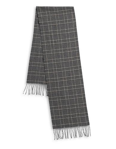 London Fog Frilled Crisscross Scarf-BEIGE-One Size