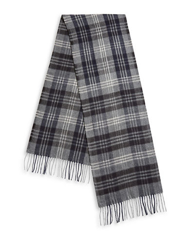 London Fog Tartan Fringe Scarf-NAVY-One Size