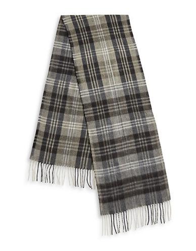 London Fog Tartan Fringe Scarf-CHARCOAL-One Size