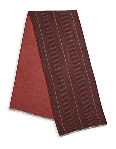 Black Brown 1826 Reversible Plaid Scarf-RED-One Size