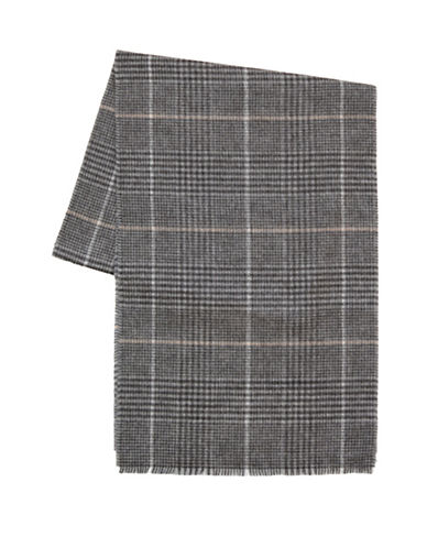 Black Brown 1826 Reversible Plaid Scarf-GREY-One Size