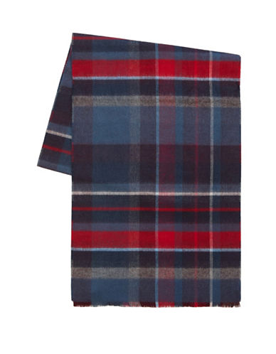 Black Brown 1826 Reversible Plaid Scarf-NAVY-One Size