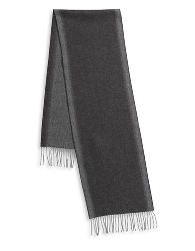 London Fog Frilled Two-Tone Scarf-CHARCOAL-One Size