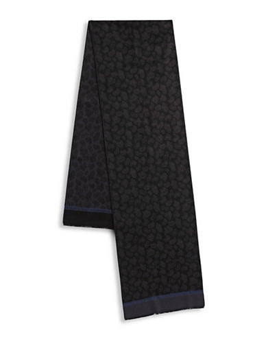 London Fog Paisley Scarf-BLACK-One Size