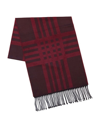 Black Brown 1826 Plaid Fringe Shawl-RED-One Size