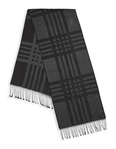 Black Brown 1826 Plaid Fringe Shawl-BLACK-One Size