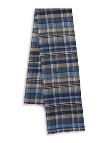 Black Brown 1826 Casual Plaid Scarf-BLUE-One Size