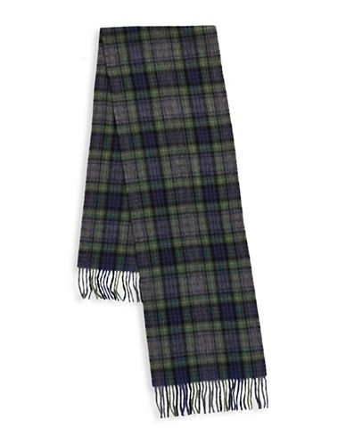 London Fog Woven Plaid Wool Scarf-NAVY-One Size
