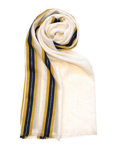 Cotton Blend Striped Scarf by Lord & Taylor