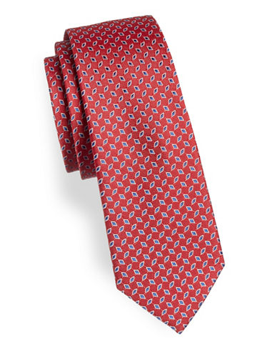 Lauren Ralph Lauren Diamond Silk Tie-RED-One Size