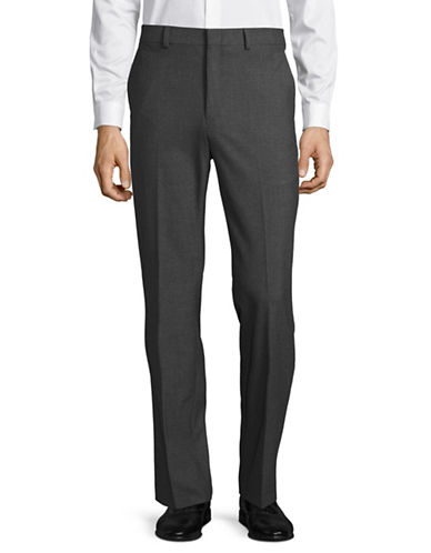 Lauren Ralph Lauren Flat-Front Stretch Trousers-GREY-36X30